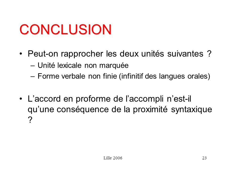 Lille 200623 CONCLUSION Peut-on rapprocher les deux unités suivantes ? –Unité lexicale non marquée –Forme verbale non finie (infinitif des langues ora