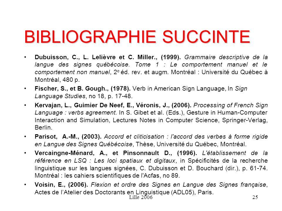 Lille 200625 BIBLIOGRAPHIE SUCCINTE Dubuisson, C., L. Lelièvre et C. Miller., (1999). Grammaire descriptive de la langue des signes québécoise. Tome 1