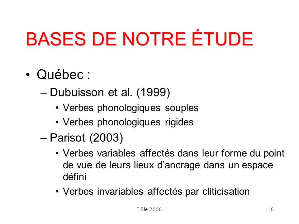Lille 20066 BASES DE NOTRE ÉTUDE Québec : –Dubuisson et al. (1999) Verbes phonologiques souples Verbes phonologiques rigides –Parisot (2003) Verbes va