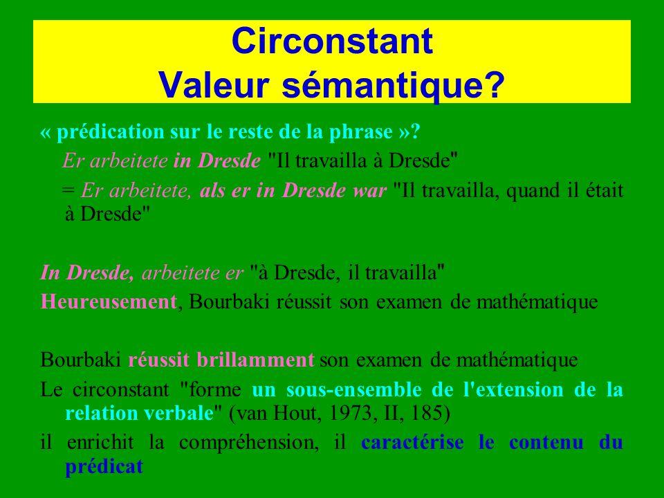 Circonstant Valeur sémantique? « prédication sur le reste de la phrase »? Er arbeitete in Dresde