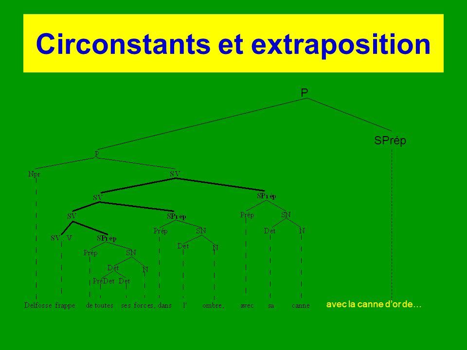 Circonstants et extraposition P SPrép avec la canne dor de…