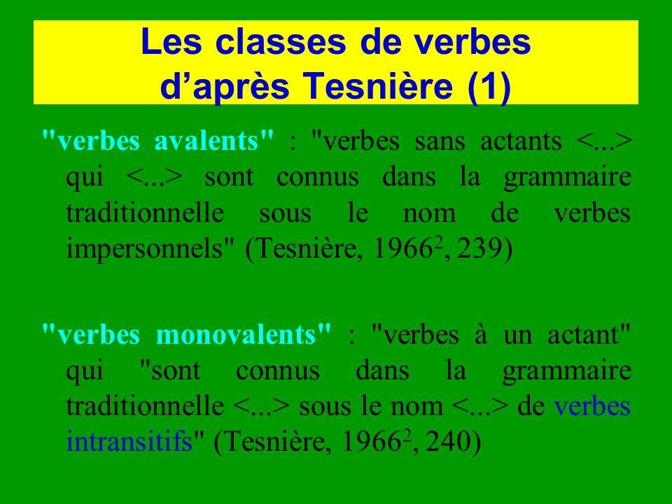 Les classes de verbes daprès Tesnière (1)