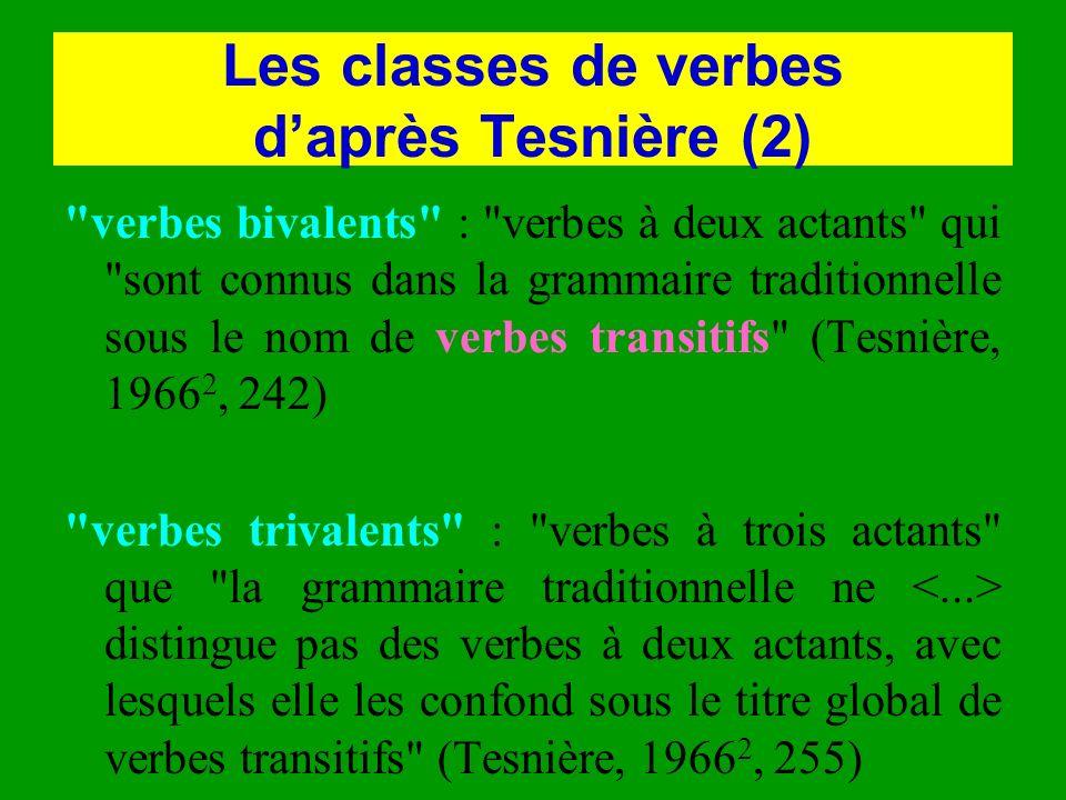 Les classes de verbes daprès Tesnière (2)