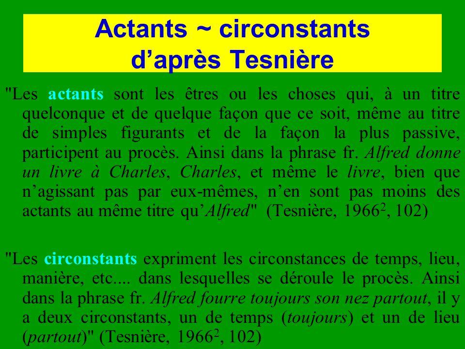 Actants ~ circonstants daprès Tesnière