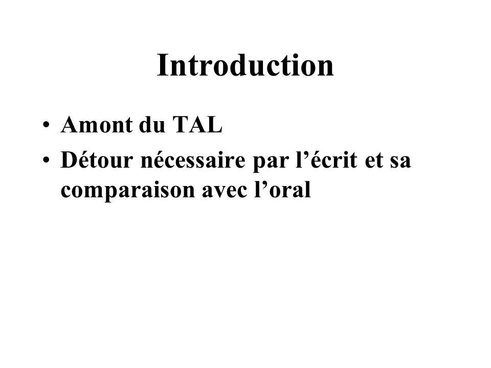 Introduction Amont du TAL Détour nécessaire par lécrit et sa comparaison avec loral