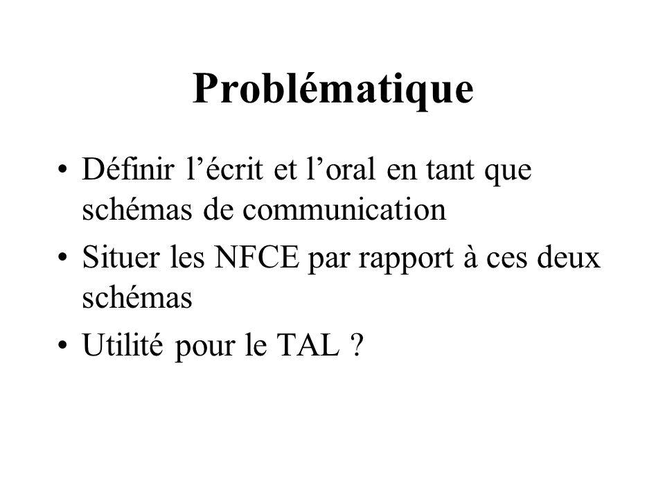 Problématique Définir lécrit et loral en tant que schémas de communication Situer les NFCE par rapport à ces deux schémas Utilité pour le TAL ?