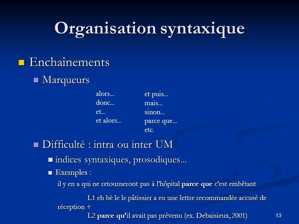 13 Organisation syntaxique Enchaînements Enchaînements Marqueurs Marqueurs Difficulté : intra ou inter UM Difficulté : intra ou inter UM indices synta