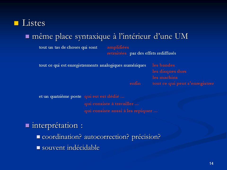 14 Listes Listes même place syntaxique à lintérieur dune UM même place syntaxique à lintérieur dune UM interprétation : interprétation : coordination?