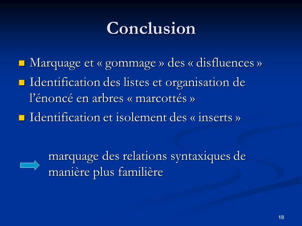 18 Conclusion Marquage et « gommage » des « disfluences » Marquage et « gommage » des « disfluences » Identification des listes et organisation de lén