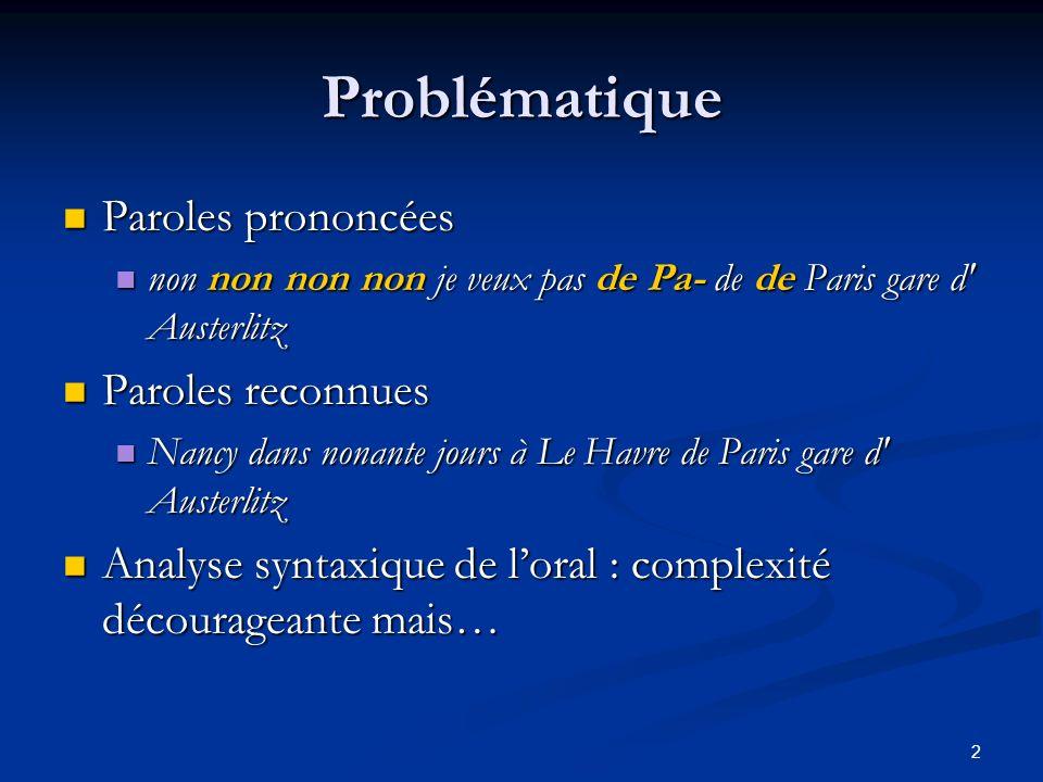 2 Problématique Paroles prononcées Paroles prononcées non non non non je veux pas de Pa- de de Paris gare d' Austerlitz non non non non je veux pas de