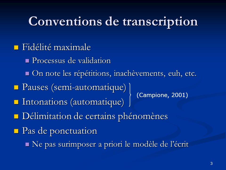 3 Conventions de transcription Fidélité maximale Fidélité maximale Processus de validation Processus de validation On note les répétitions, inachèveme