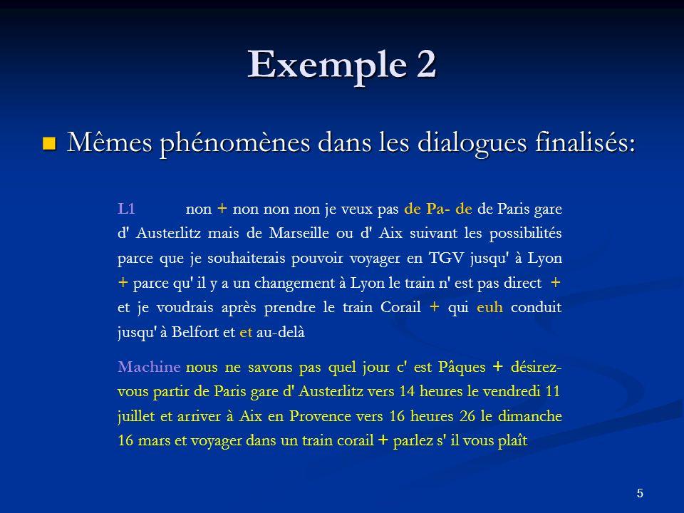 5 Exemple 2 Mêmes phénomènes dans les dialogues finalisés: Mêmes phénomènes dans les dialogues finalisés: L1non + non non non je veux pas de Pa- de de