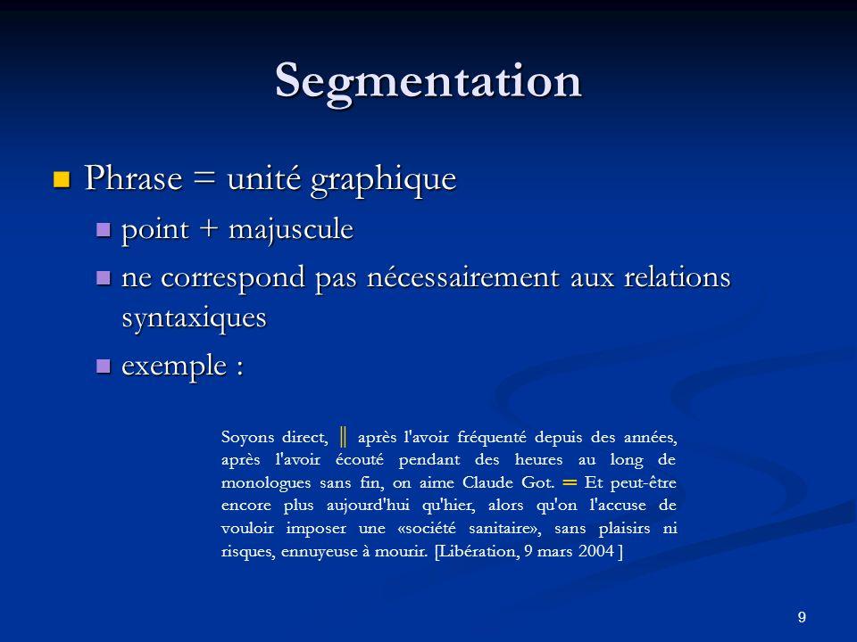 9 Segmentation Phrase = unité graphique Phrase = unité graphique point + majuscule point + majuscule ne correspond pas nécessairement aux relations sy