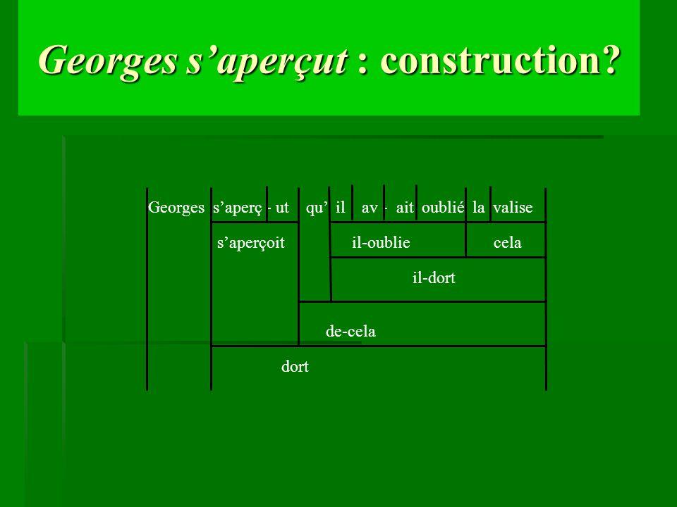 Georges saperçut : construction? saperçoit il-oublie cela Georges saperç - ut qu il av - ait oublié la valise il-dort de-cela dort