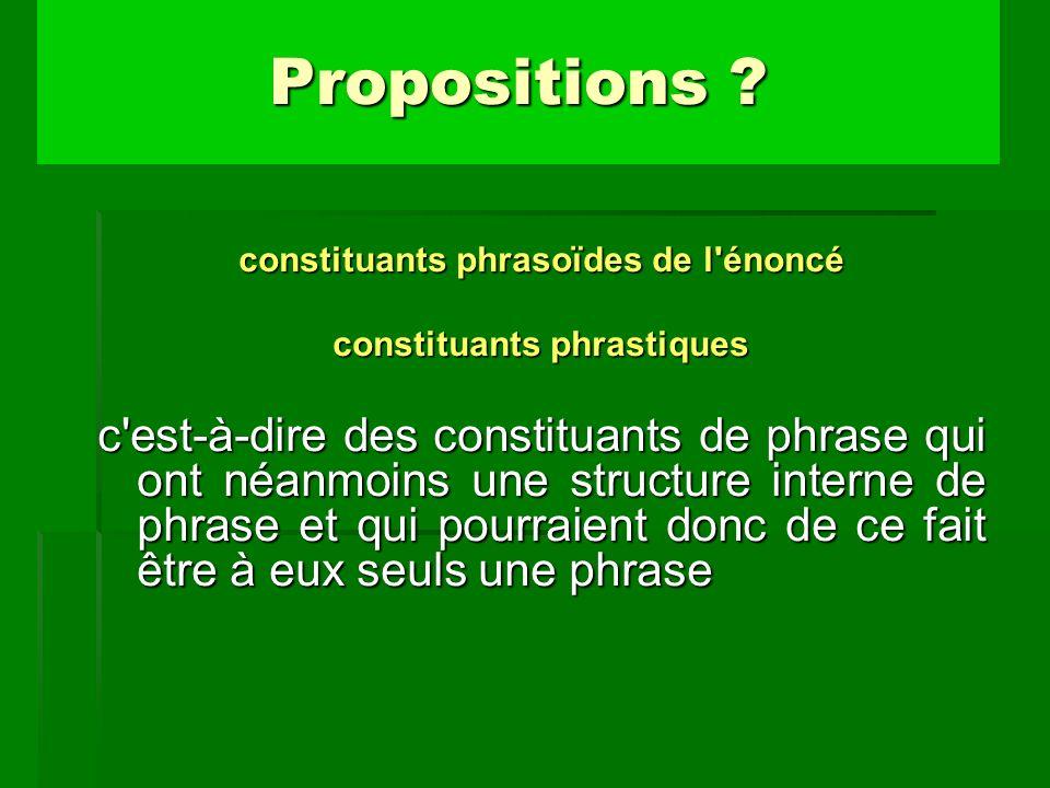 constituants phrasoïdes de l'énoncé constituants phrastiques c'est-à-dire des constituants de phrase qui ont néanmoins une structure interne de phrase