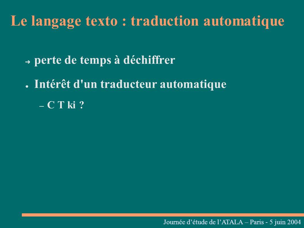 Journées linguistiques du Centre L. Tesnière – 05 et 06 mars 2004 perte de temps à déchiffrer Intérêt d'un traducteur automatique – C T ki ? Journée d