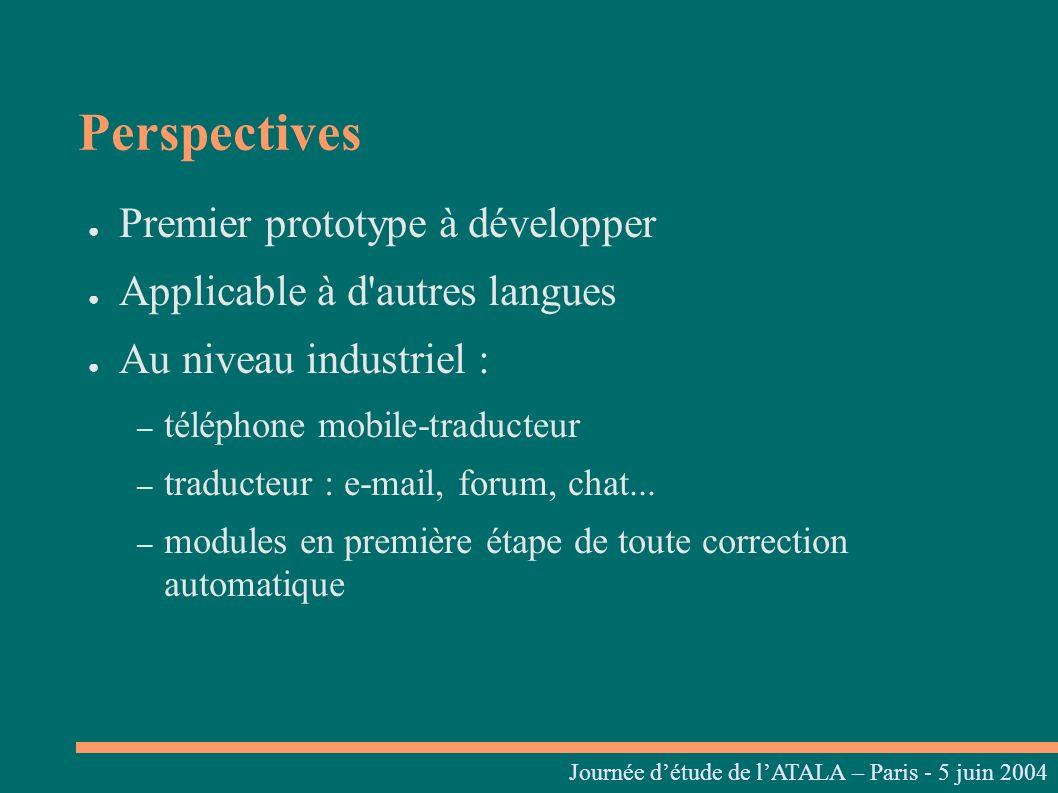 Perspectives Premier prototype à développer Applicable à d'autres langues Au niveau industriel : – téléphone mobile-traducteur – traducteur : e-mail,