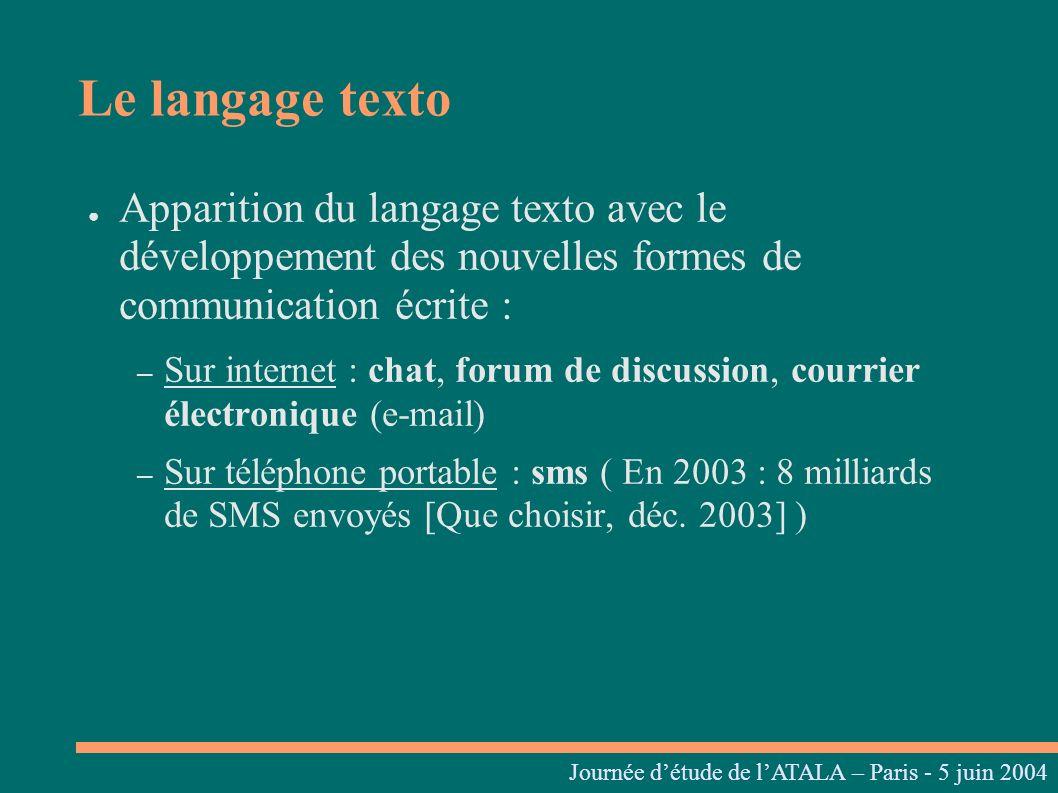 Journées linguistiques du Centre L. Tesnière – 05 et 06 mars 2004 Apparition du langage texto avec le développement des nouvelles formes de communicat