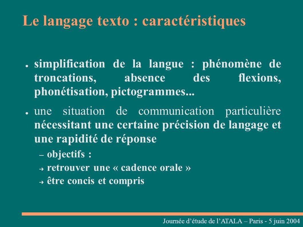 Journées linguistiques du Centre L. Tesnière – 05 et 06 mars 2004 simplification de la langue : phénomène de troncations, absence des flexions, phonét