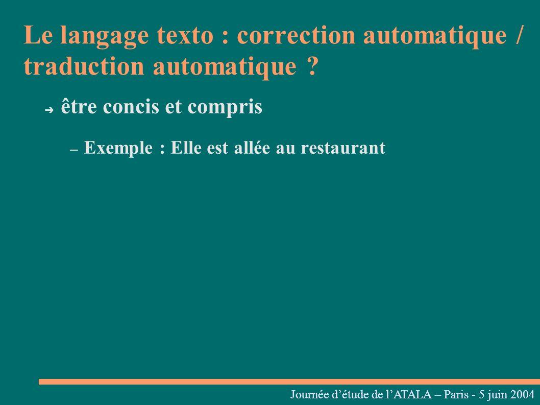 Journées linguistiques du Centre L. Tesnière – 05 et 06 mars 2004 être concis et compris – Exemple : Elle est allée au restaurant Le langage texto : c