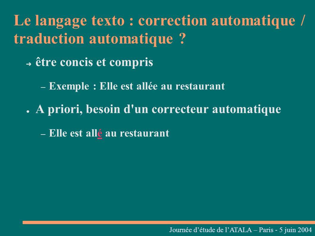 Journées linguistiques du Centre L. Tesnière – 05 et 06 mars 2004 être concis et compris – Exemple : Elle est allée au restaurant A priori, besoin d'u