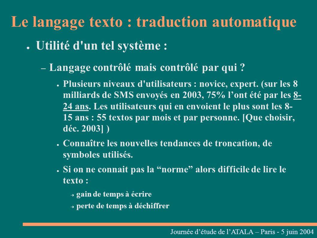 Journées linguistiques du Centre L. Tesnière – 05 et 06 mars 2004 Utilité d'un tel système : – Langage contrôlé mais contrôlé par qui ? Plusieurs nive