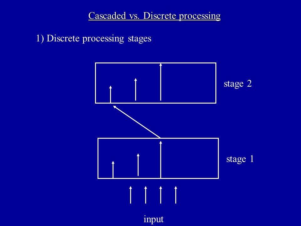 Cascaded vs. Discrete processing stage 1 stage 2 1) Discrete processing stages input