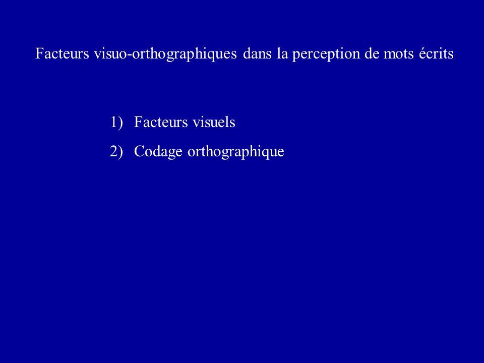 Facteurs visuo-orthographiques dans la perception de mots écrits 1)Facteurs visuels 2)Codage orthographique