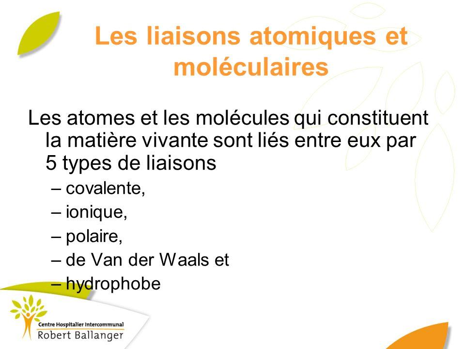 Les liaisons atomiques et moléculaires Les atomes et les molécules qui constituent la matière vivante sont liés entre eux par 5 types de liaisons –cov