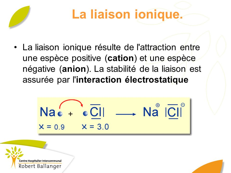 La liaison ionique. La liaison ionique résulte de l'attraction entre une espèce positive (cation) et une espèce négative (anion). La stabilité de la l