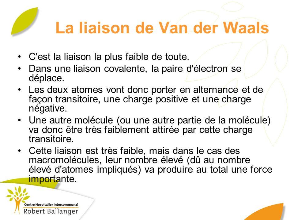 La liaison de Van der Waals C'est la liaison la plus faible de toute. Dans une liaison covalente, la paire d'électron se déplace. Les deux atomes vont