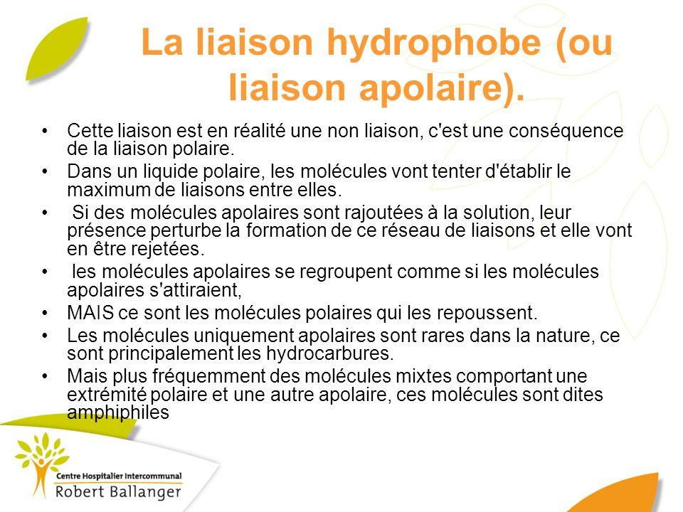 La liaison hydrophobe (ou liaison apolaire). Cette liaison est en réalité une non liaison, c'est une conséquence de la liaison polaire. Dans un liquid