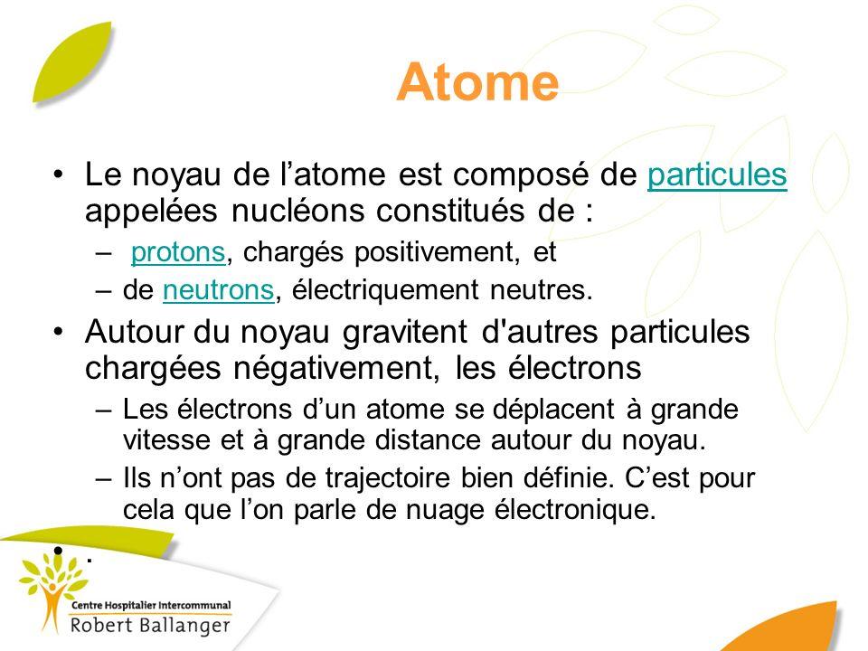 Atome Le noyau de latome est composé de particules appelées nucléons constitués de :particules – protons, chargés positivement, etprotons –de neutrons