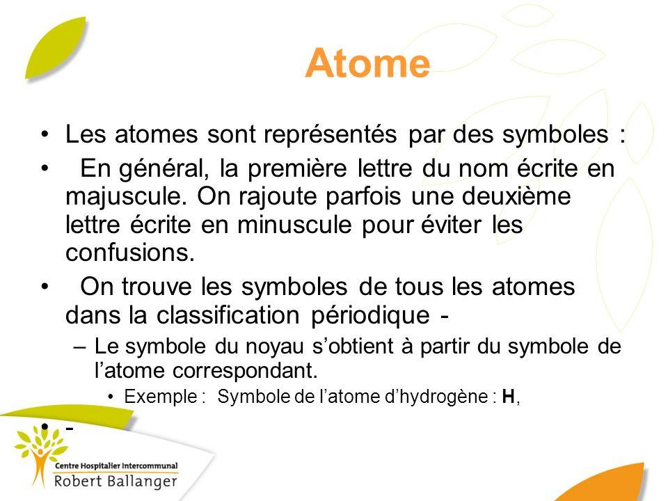 Atome Les atomes sont représentés par des symboles : En général, la première lettre du nom écrite en majuscule. On rajoute parfois une deuxième lettre
