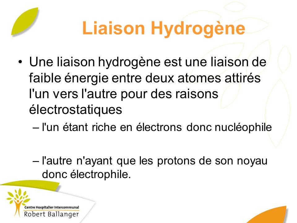Liaison Hydrogène Une liaison hydrogène est une liaison de faible énergie entre deux atomes attirés l'un vers l'autre pour des raisons électrostatique