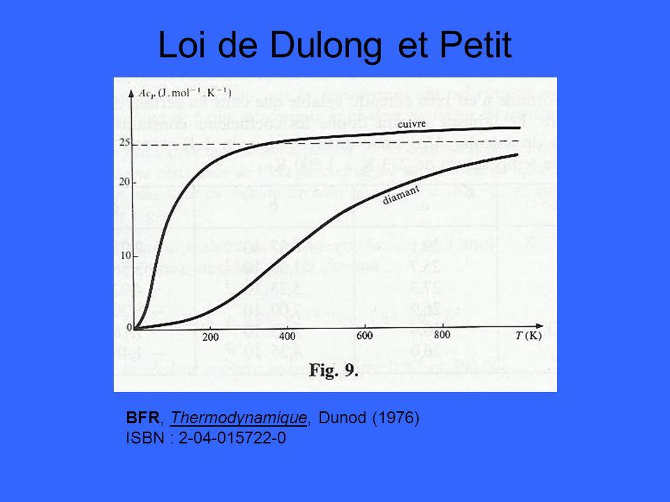 Loi de Dulong et Petit BFR, Thermodynamique, Dunod (1976) ISBN : 2-04-015722-0