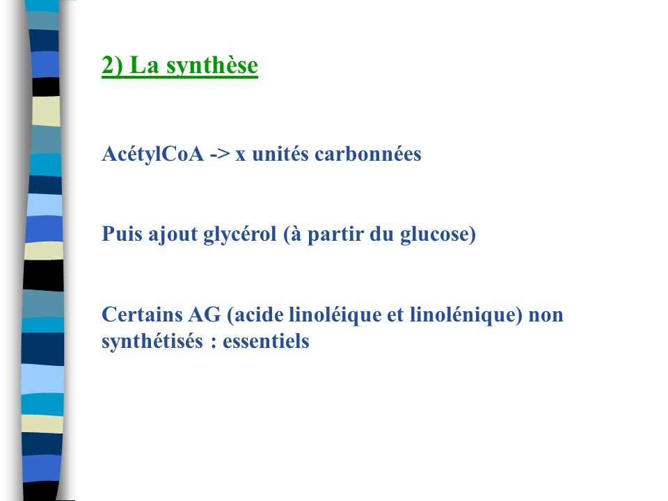 2) La synthèse AcétylCoA -> x unités carbonnées Puis ajout glycérol (à partir du glucose) Certains AG (acide linoléique et linolénique) non synthétisé