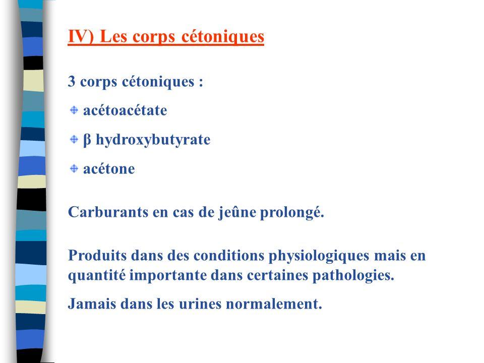 IV) Les corps cétoniques 3 corps cétoniques : acétoacétate β hydroxybutyrate acétone Carburants en cas de jeûne prolongé. Produits dans des conditions
