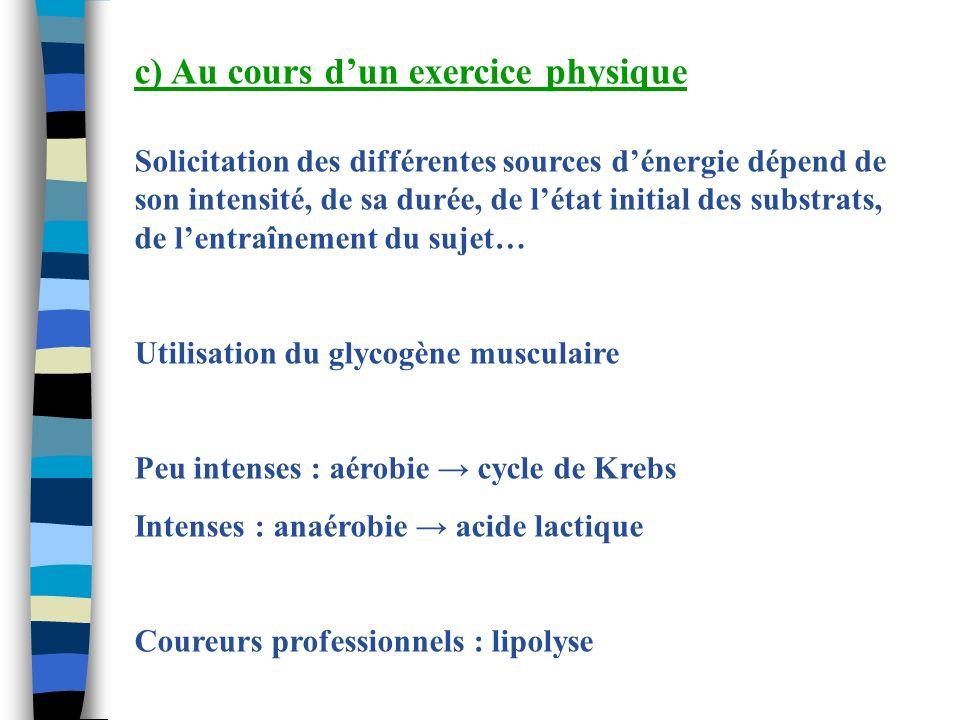 c) Au cours dun exercice physique Solicitation des différentes sources dénergie dépend de son intensité, de sa durée, de létat initial des substrats,