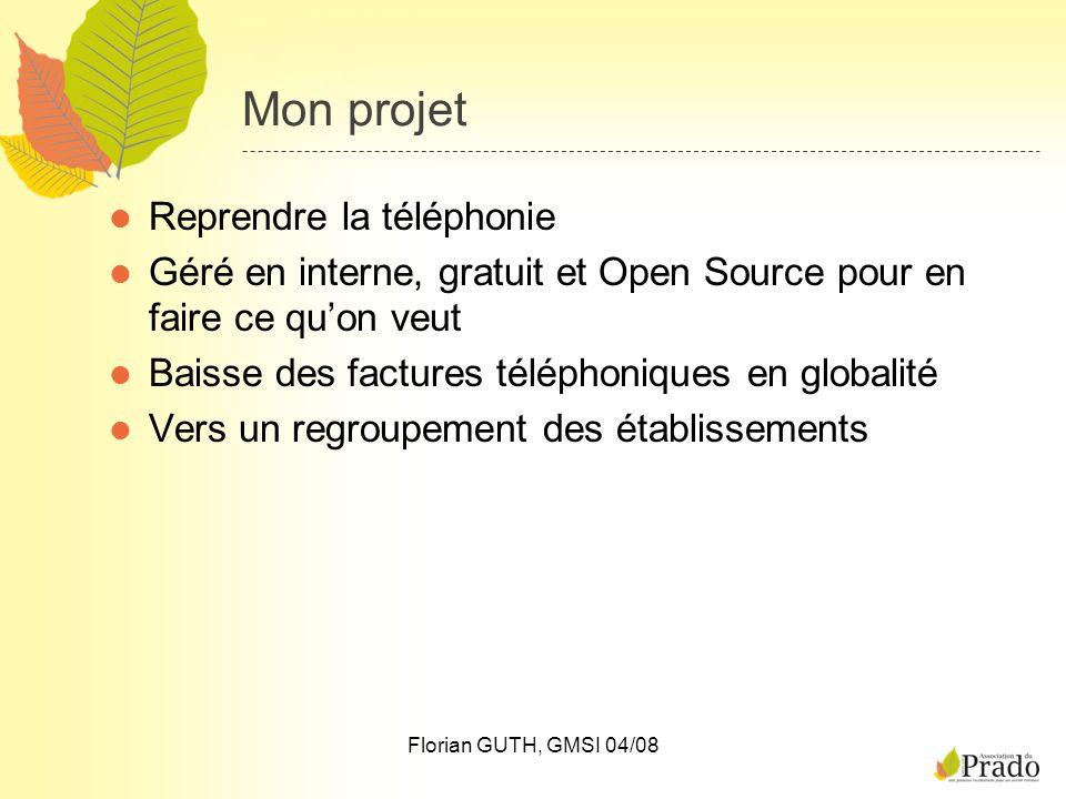 Florian GUTH, GMSI 04/08 Mon projet Reprendre la téléphonie Géré en interne, gratuit et Open Source pour en faire ce quon veut Baisse des factures tél