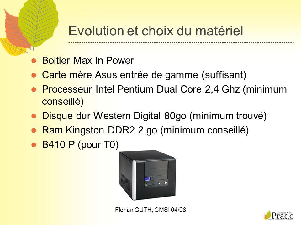 Florian GUTH, GMSI 04/08 Evolution et choix du matériel Boitier Max In Power Carte mère Asus entrée de gamme (suffisant) Processeur Intel Pentium Dual