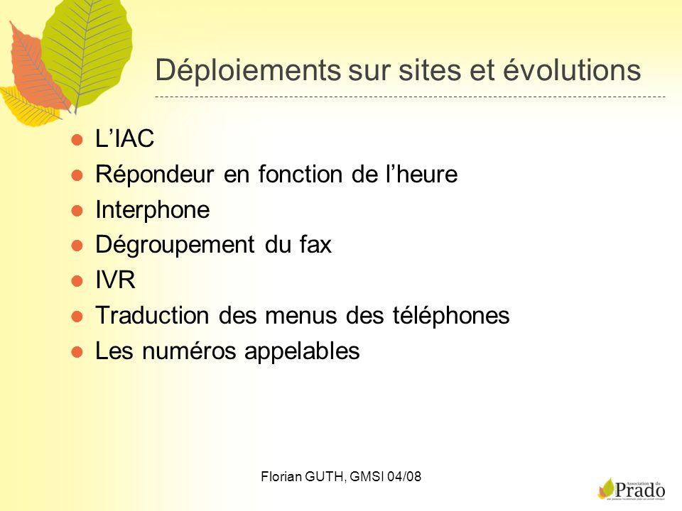 Florian GUTH, GMSI 04/08 Déploiements sur sites et évolutions LIAC Répondeur en fonction de lheure Interphone Dégroupement du fax IVR Traduction des m