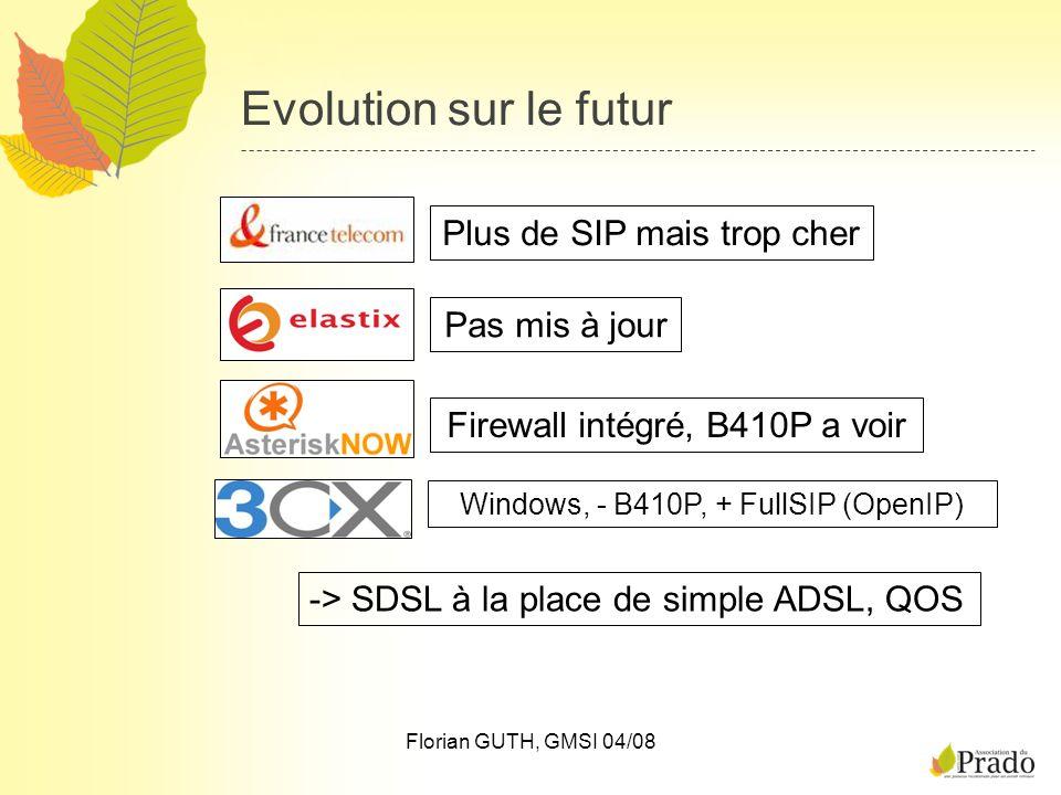 Florian GUTH, GMSI 04/08 Evolution sur le futur Plus de SIP mais trop cherPas mis à jour Firewall intégré, B410P a voir Windows, - B410P, + FullSIP (O