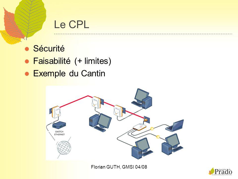 Florian GUTH, GMSI 04/08 Le CPL Sécurité Faisabilité (+ limites) Exemple du Cantin