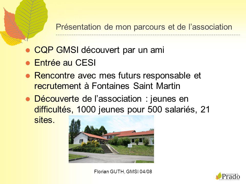 Florian GUTH, GMSI 04/08 Présentation de mon parcours et de lassociation CQP GMSI découvert par un ami Entrée au CESI Rencontre avec mes futurs respon