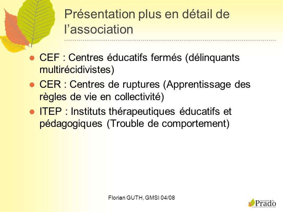 Présentation plus en détail de lassociation CEF : Centres éducatifs fermés (délinquants multirécidivistes) CER : Centres de ruptures (Apprentissage de