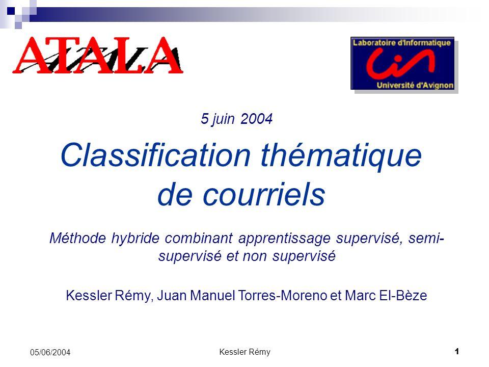 Kessler Rémy1 05/06/2004 Classification thématique de courriels Méthode hybride combinant apprentissage supervisé, semi- supervisé et non supervisé Ke