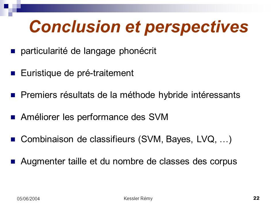 Kessler Rémy22 05/06/2004 Conclusion et perspectives particularité de langage phonécrit Euristique de pré-traitement Premiers résultats de la méthode