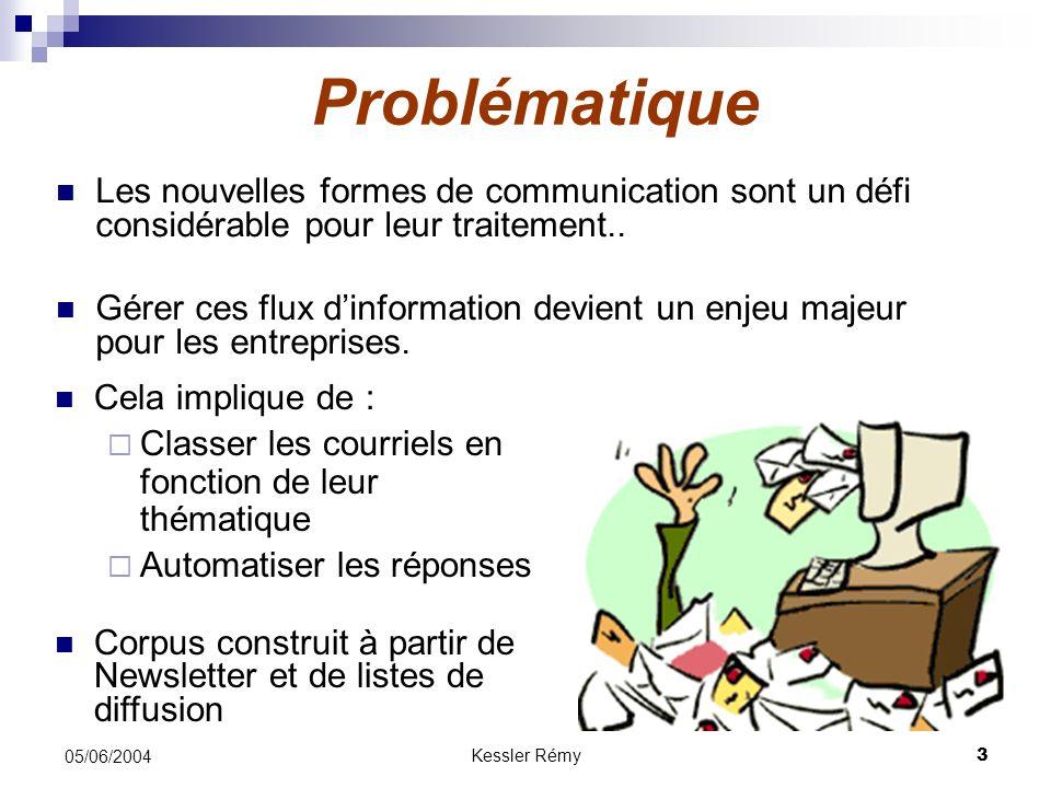 Kessler Rémy3 05/06/2004 Problématique Les nouvelles formes de communication sont un défi considérable pour leur traitement.. Gérer ces flux dinformat