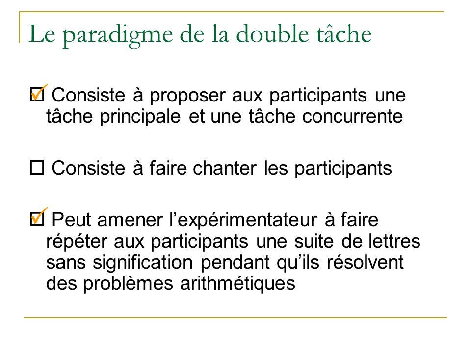 Le paradigme de la double tâche Consiste à proposer aux participants une tâche principale et une tâche concurrente Consiste à faire chanter les partic